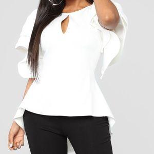 Asymmetrical Top Off White